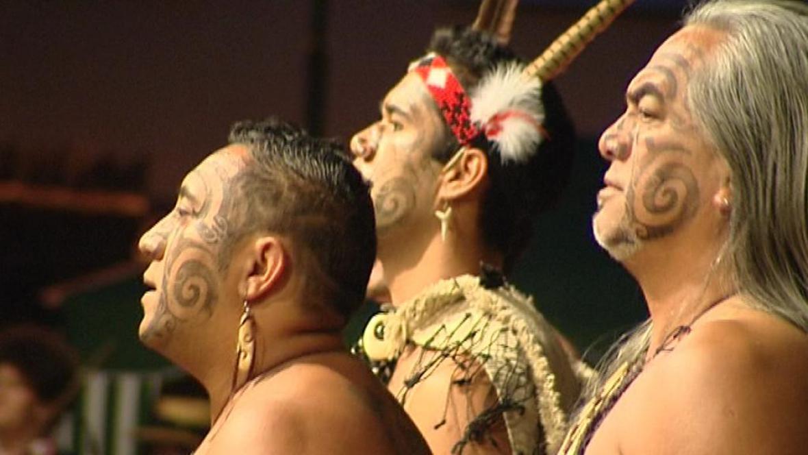 Vystoupení maorského souboru v Červeném Kostelci