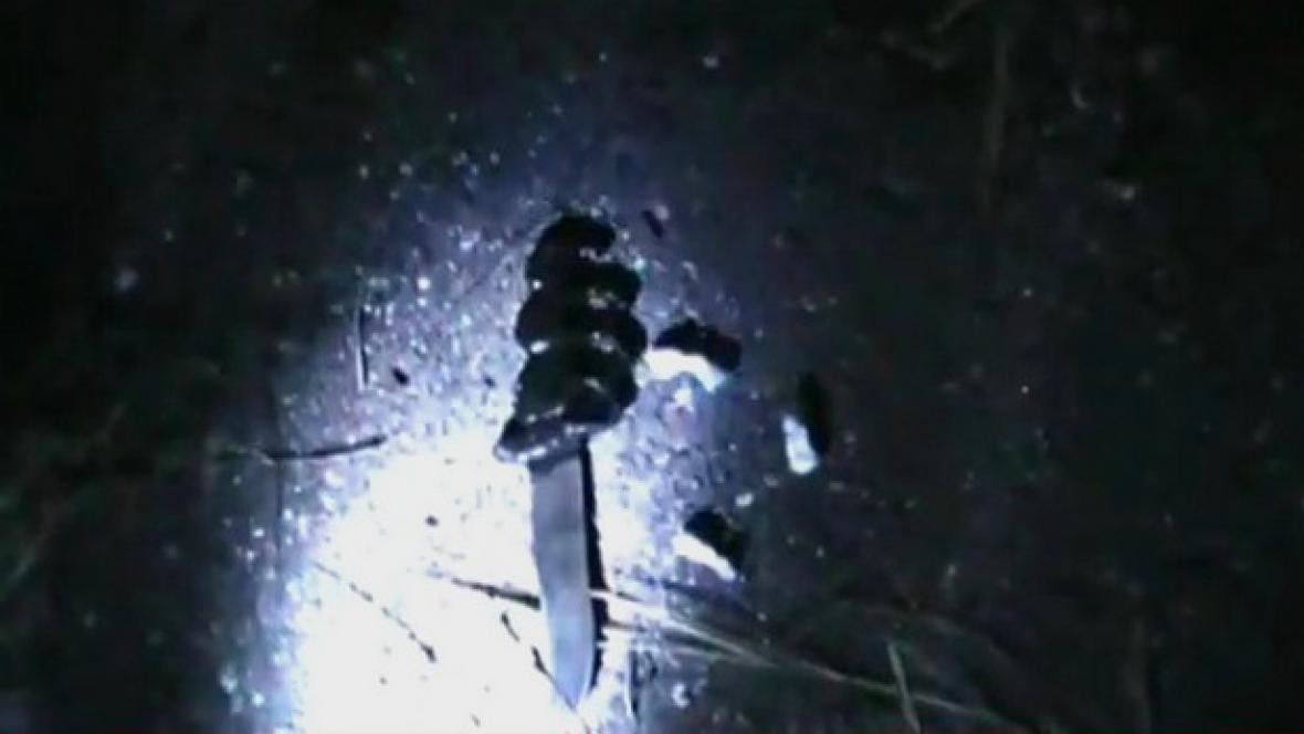 Nůž nalezený v radiační zóně u města Gomel