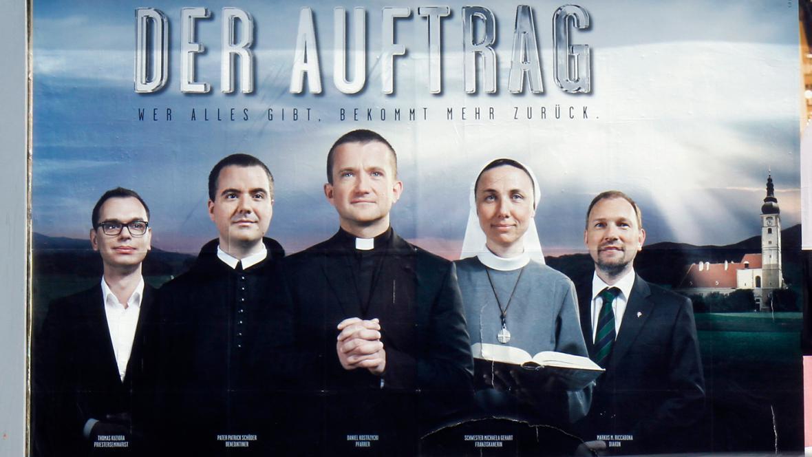 Nábor rakouských kněží pomocí billboardů