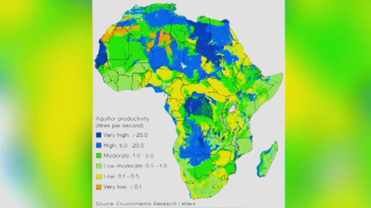 Mapa zásob vody v Africe