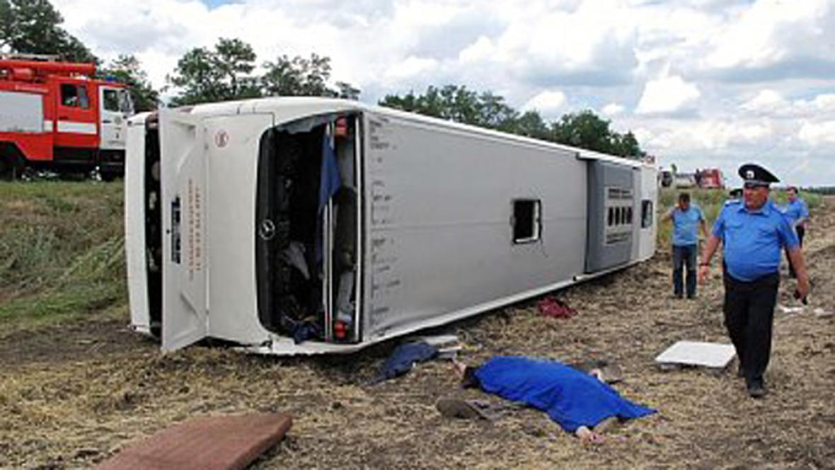 Havárie autobusu na Ukrajině