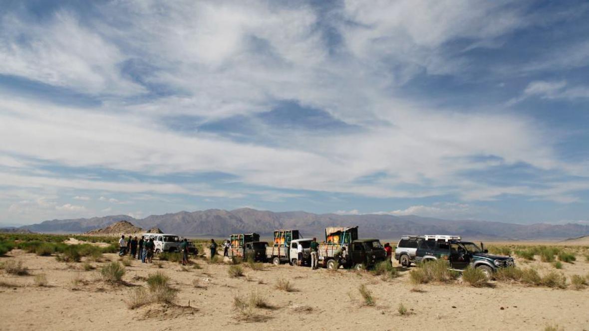Cesta do cílového místa v poušti Gobi