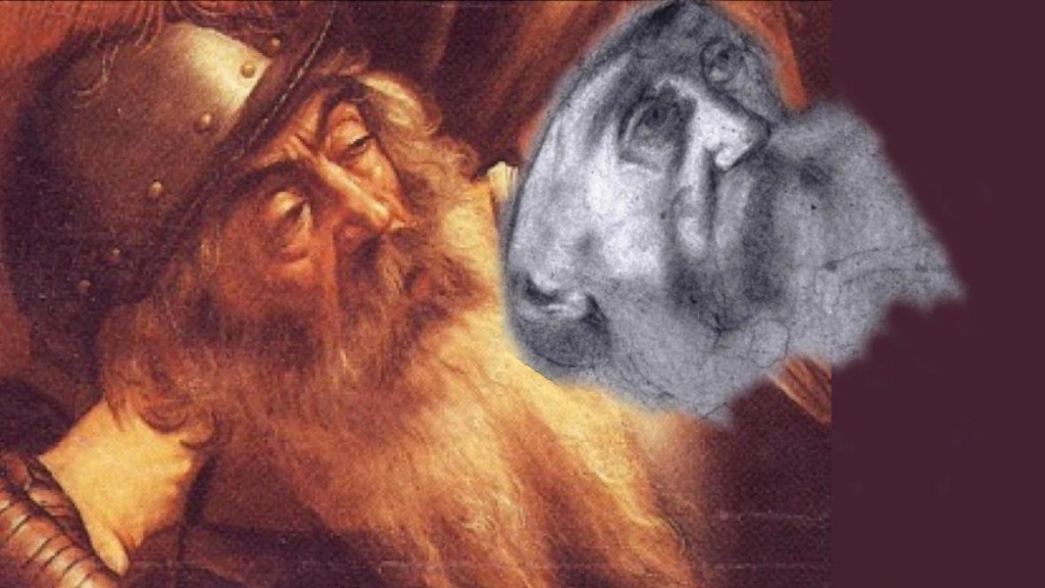 Nalezená kresba v porovnání s detailem malby Obrácení Šavla