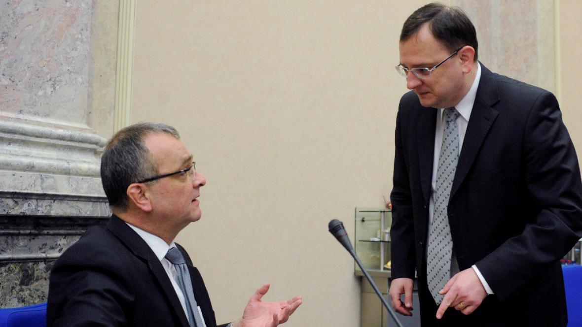 Premiér Petr Nečas s Miroslavem Kalouskem