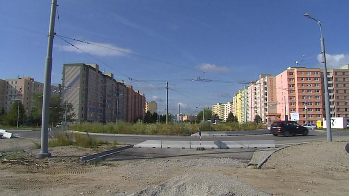 Místo plánované silnice v Českých Budějovicích