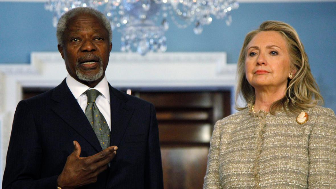 Kofi Annan a Hillary Clintonová
