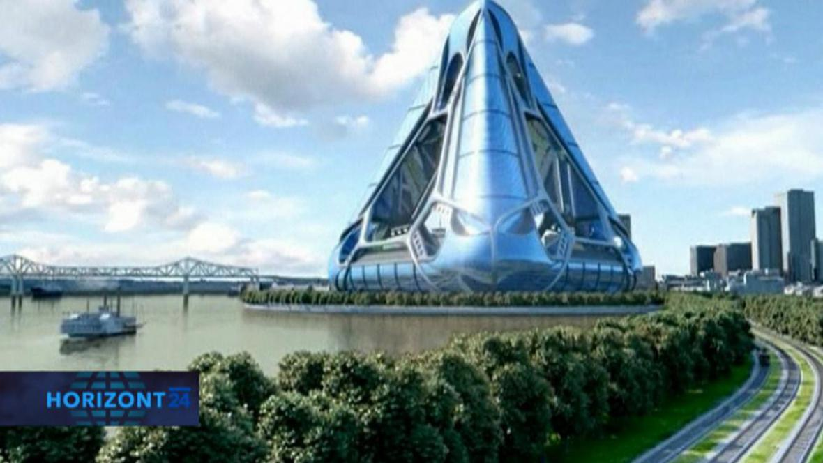 Futuristická vize města plovoucího na vodě
