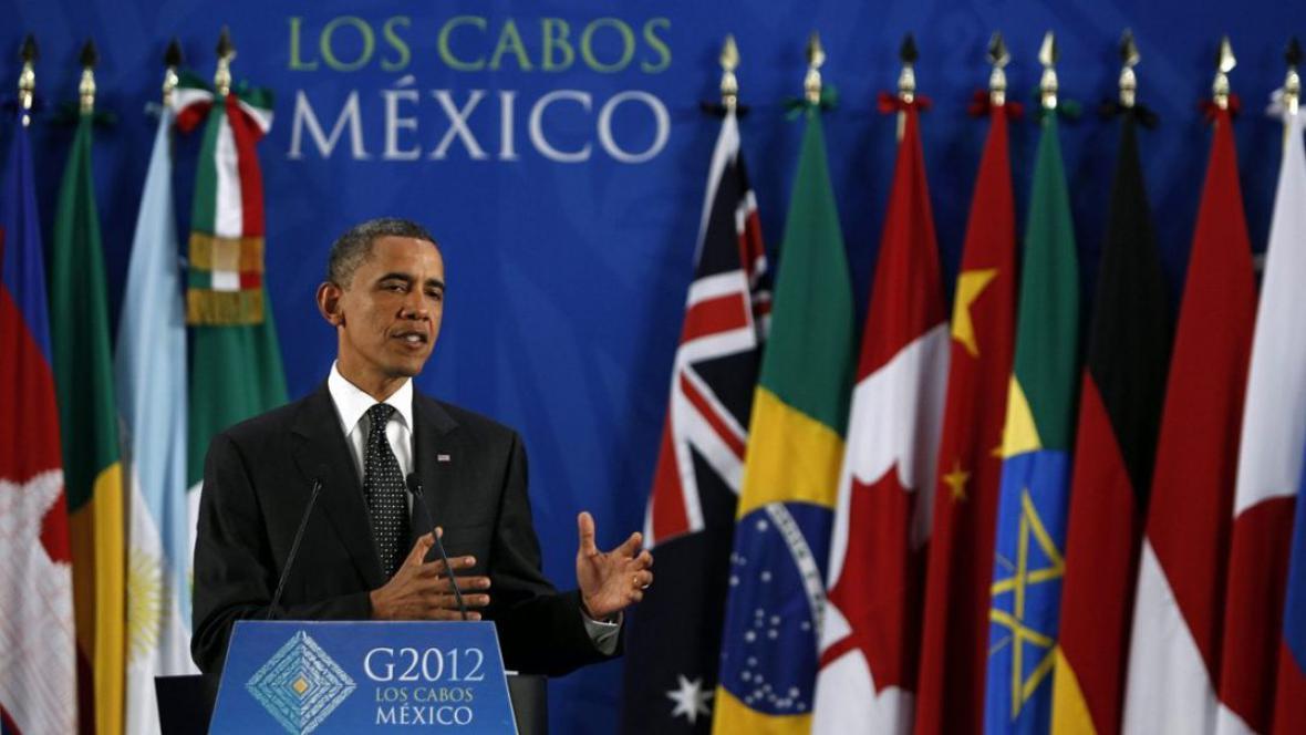 Barack Obama hovoří během tiskové konference na summitu G20