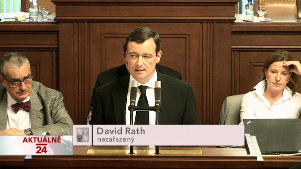 David Rath při projevu ve sněmovně