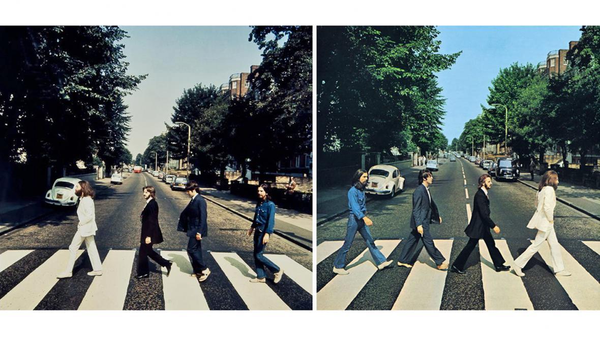 Dražený snímek Beatles (vlevo) - a jeho známá verze z alba Abbey Road