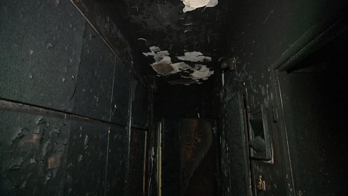 Následky požáru v Havířově