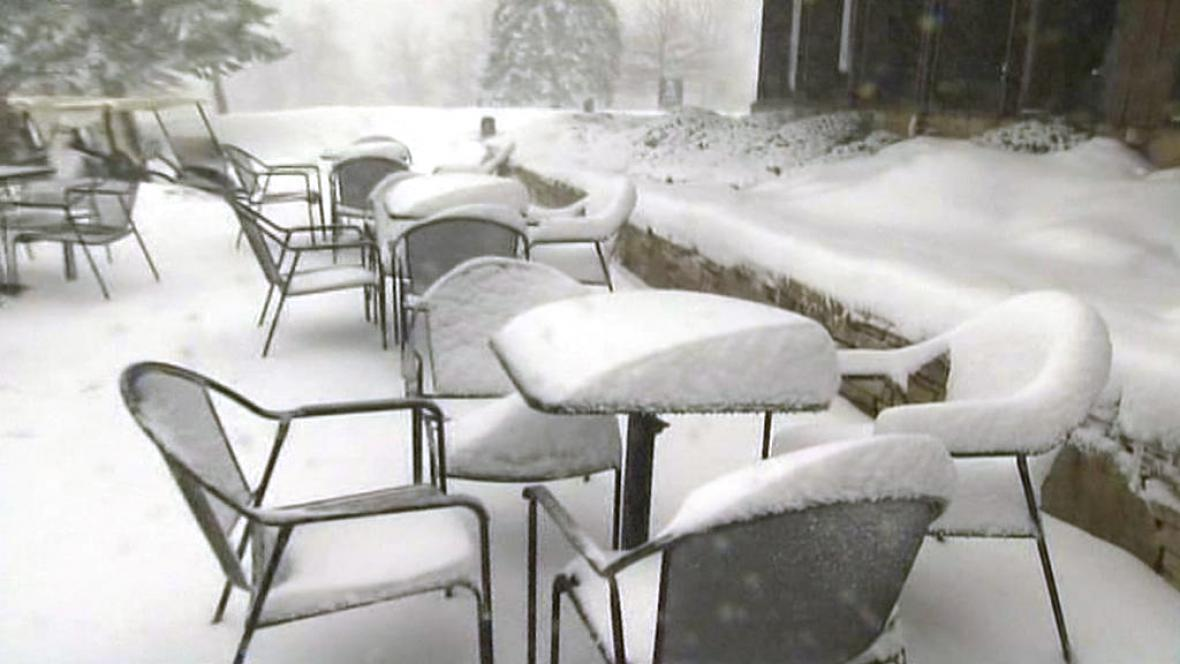 Následky sněhové bouře