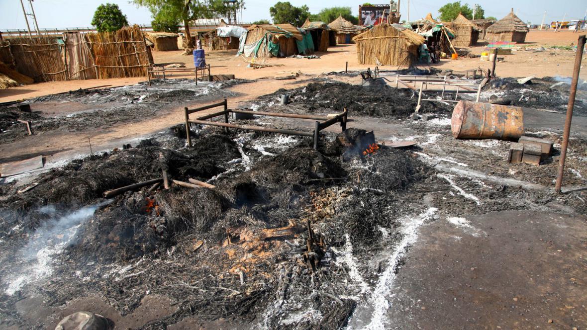 Následky bombardování v jihosúdánském Bentiu