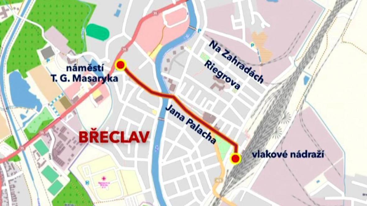 Trase nedělního průvodu v Břeclavi