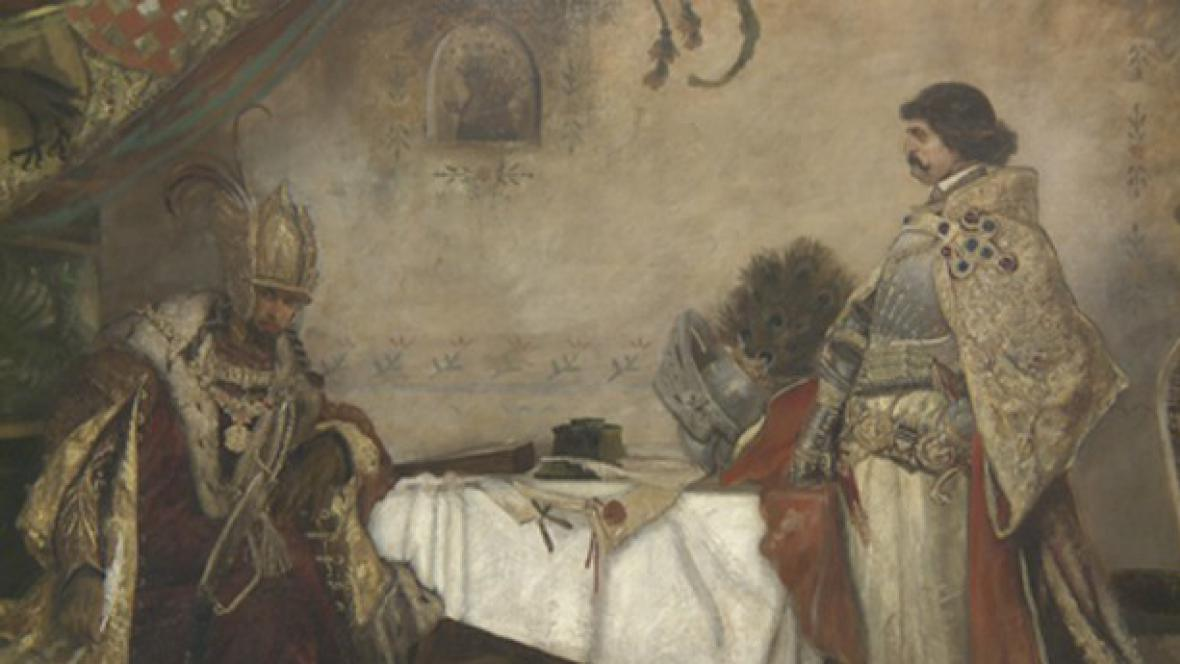 Mikoláš Aleš / Setkání Jiřího z Poděbrad s Matyášem Korvínem (detail)