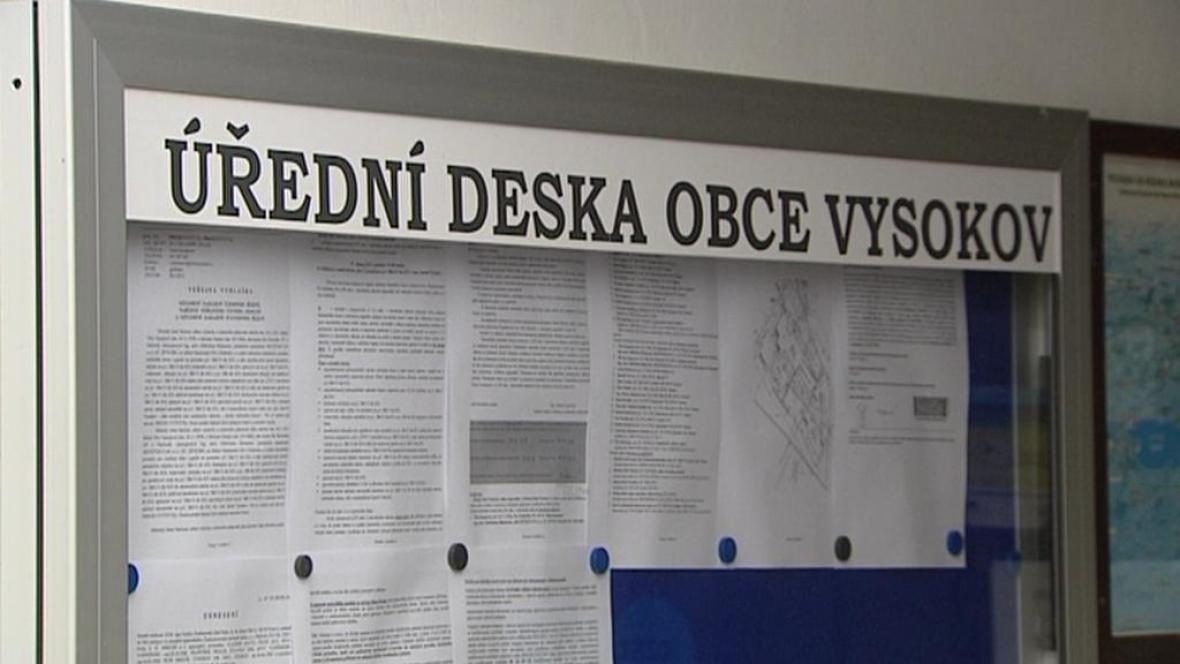 Úřední deska obce Vysokov