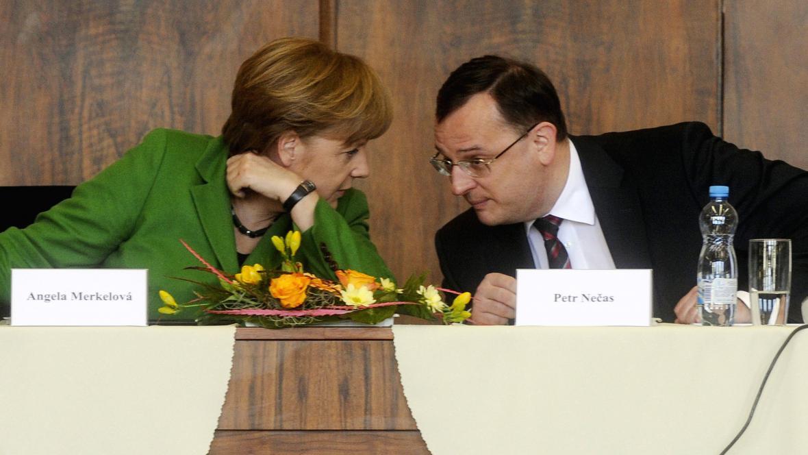 Angela Merkelová a Petr Nečas