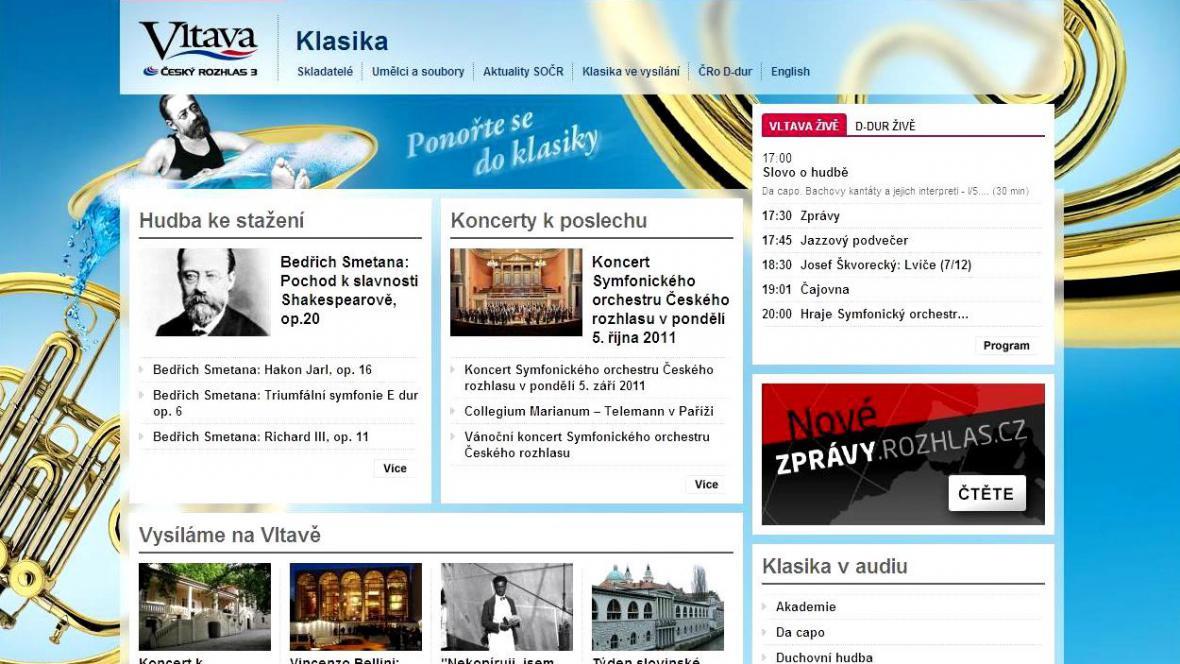 Webové stránky věnované klasické hudbě