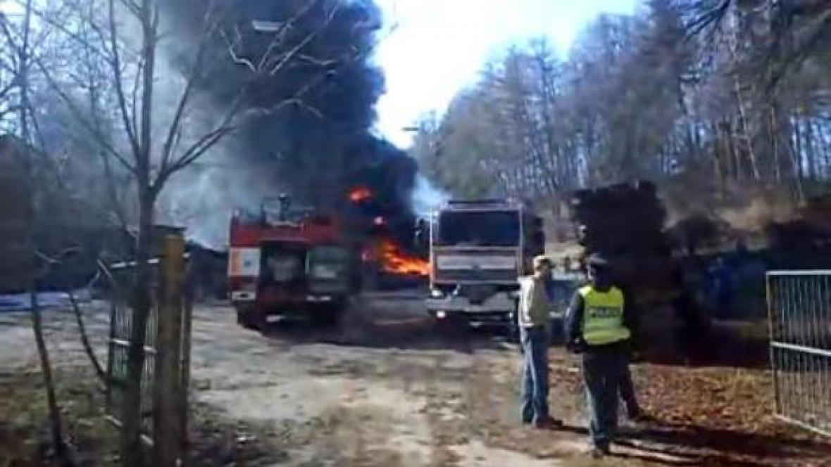 Požár pily ve Vrchlabí