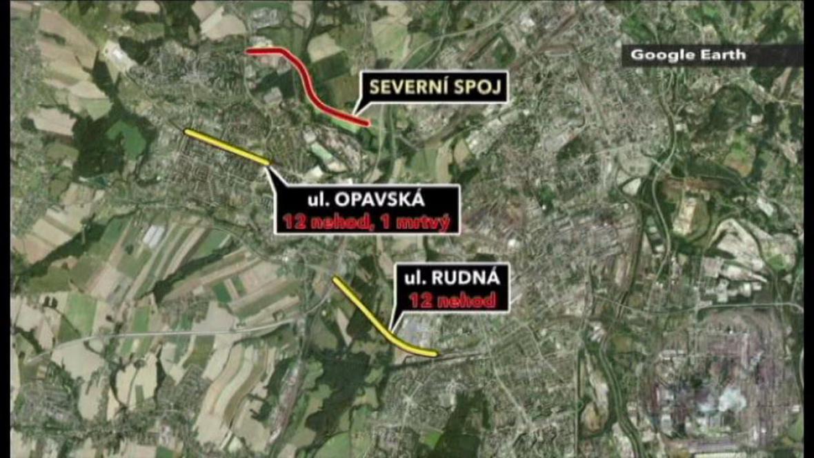 Mapa nebezpečných ulic v Ostravě
