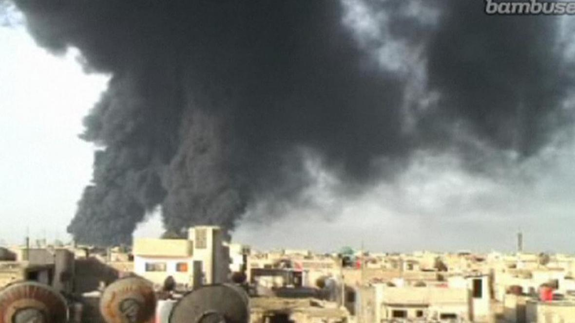 Výbuch ropovodu v syrském Homsu