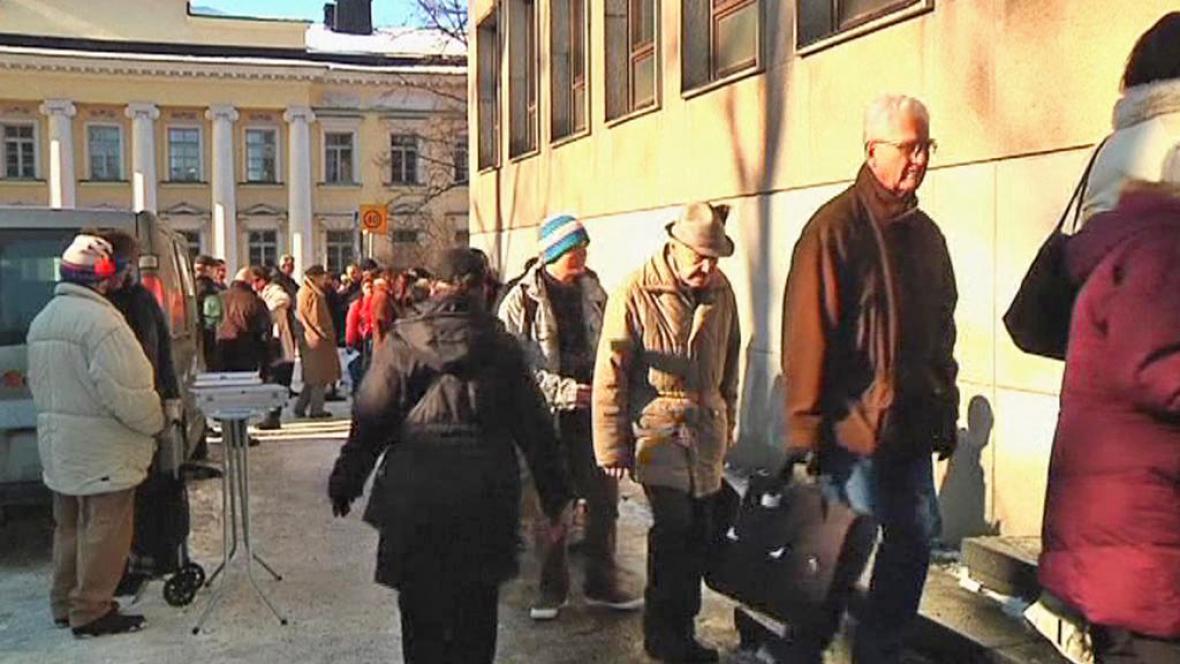 Fronta před finskou bankou