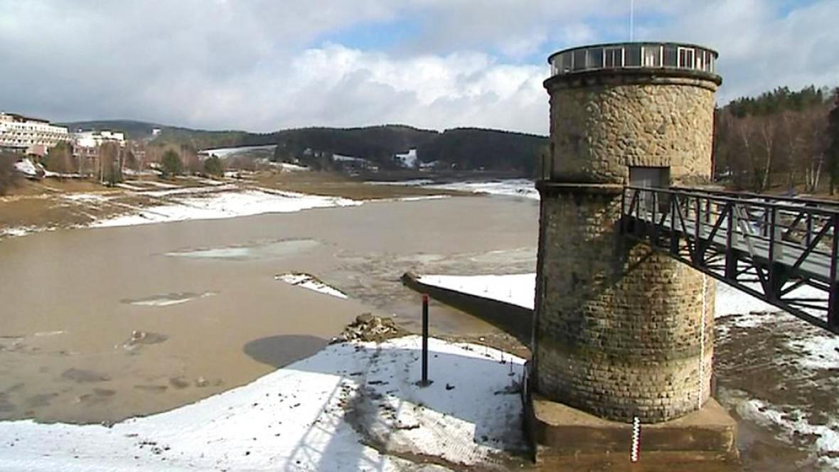 Vypuštěná přehrada v Luhačovicích