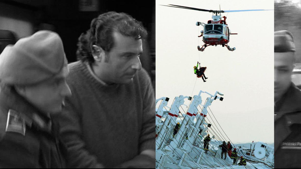 Francesco Schettino a vyprošťování jedné z obětí havárie Concordie