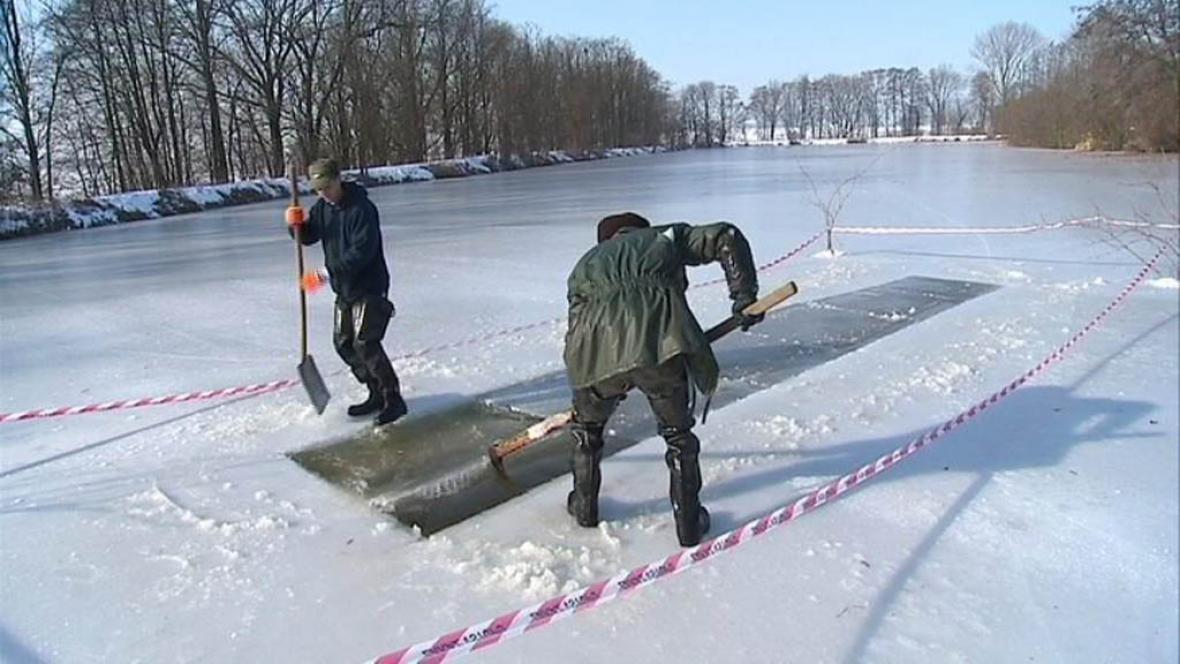 Rybáři provzdušňují rybník