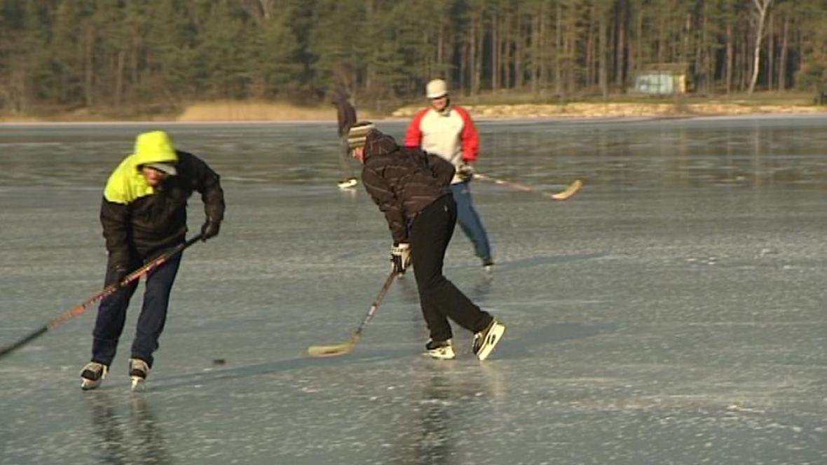 Bruslaři na zamrzlém rybníku