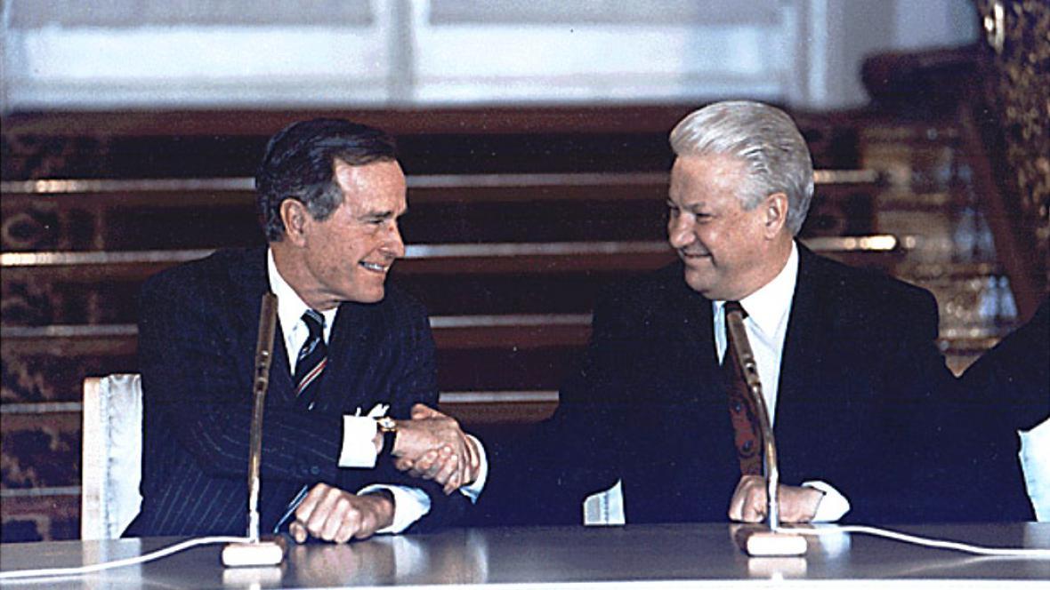 George Bush a Boris Jelcin