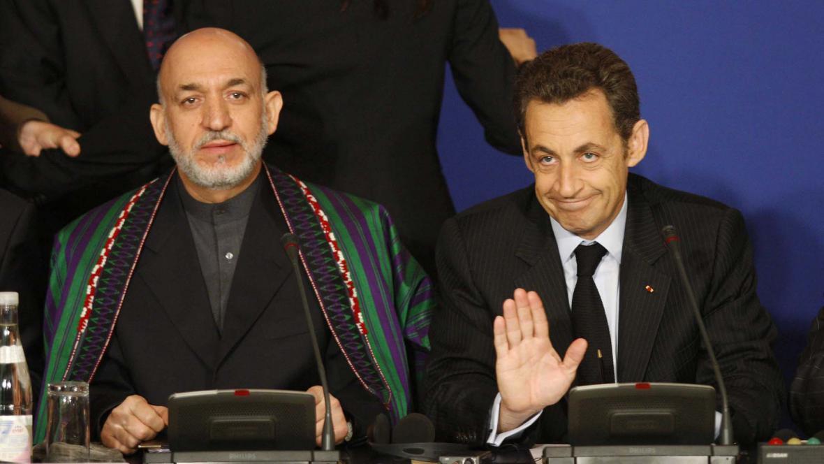 Hamíd Karzáí a Nicolas Sarkozy