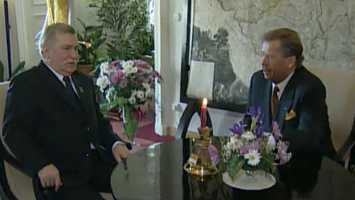 Lech Walesa a Václav Havel