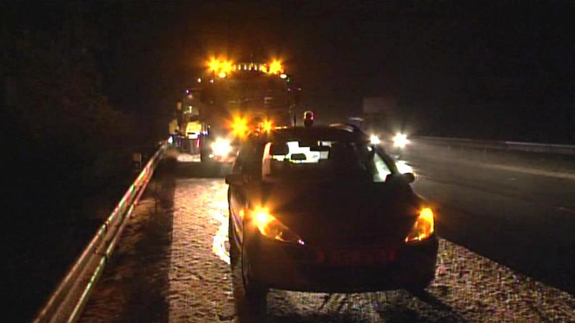 Vyšetřování nehody na D1 u Měřína