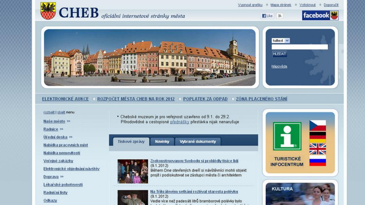 Internetové stránky města Cheb