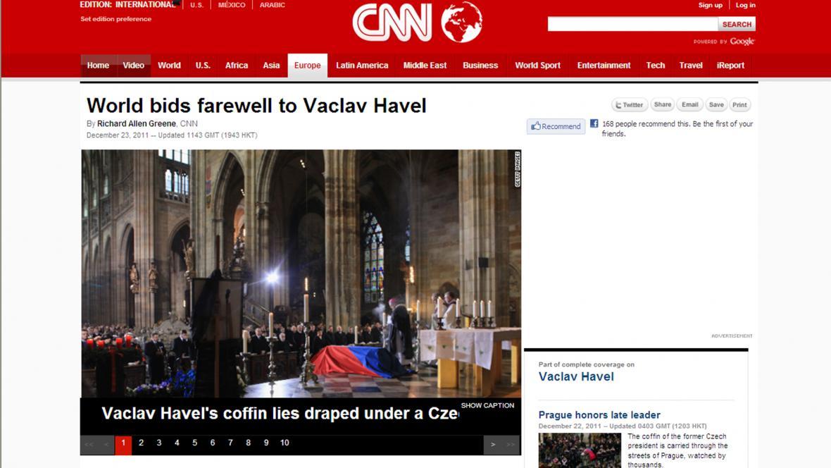 CNN o pohřbu Václava Havla