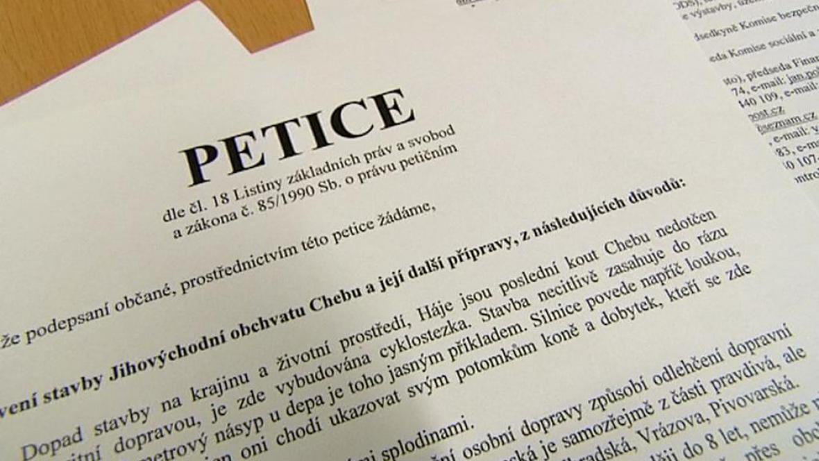 Petice proti obchvatu Chebu