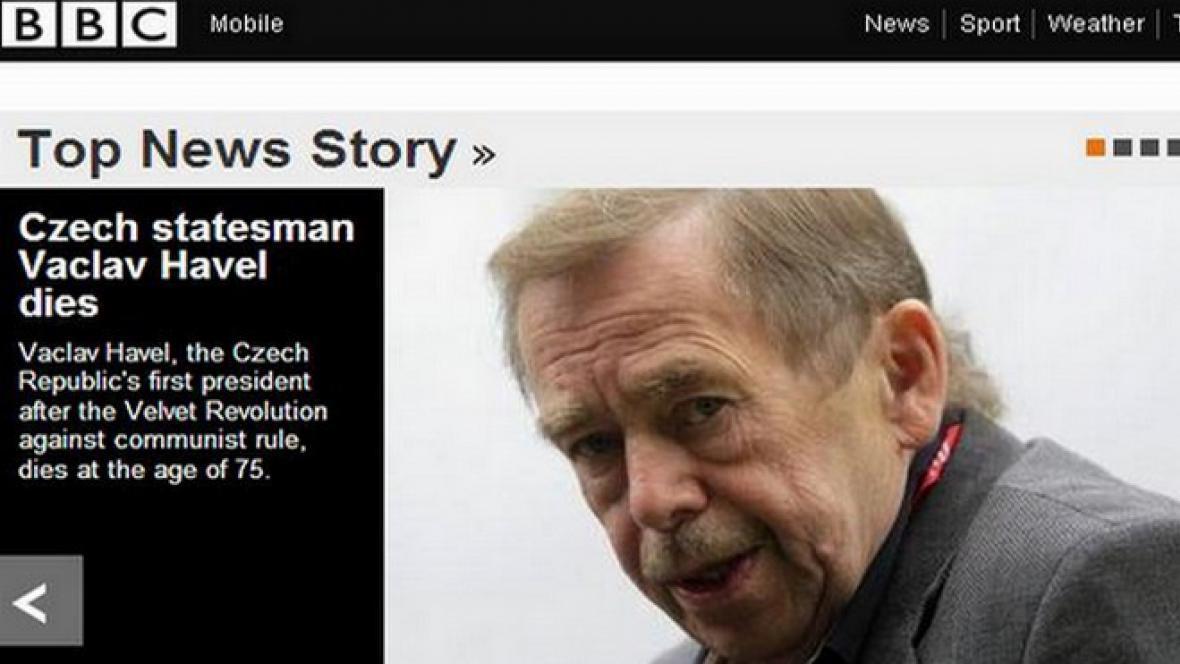 BBC informuje o smrti Václava Havla