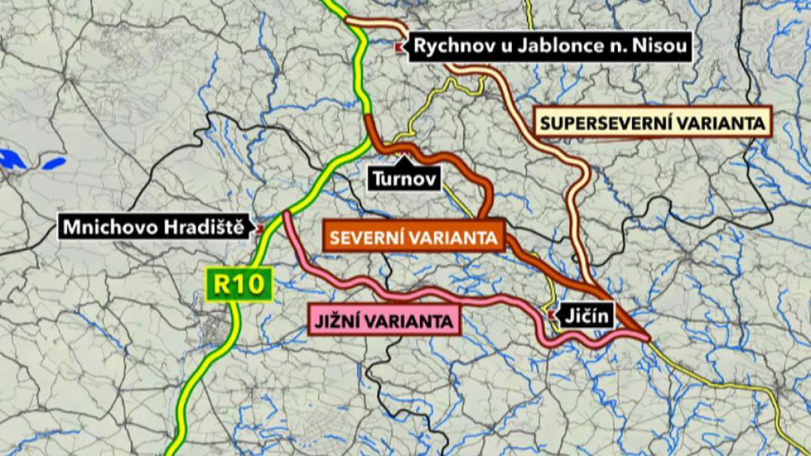 Varianty tras silnice R35 z Liberce do Hradce Králové