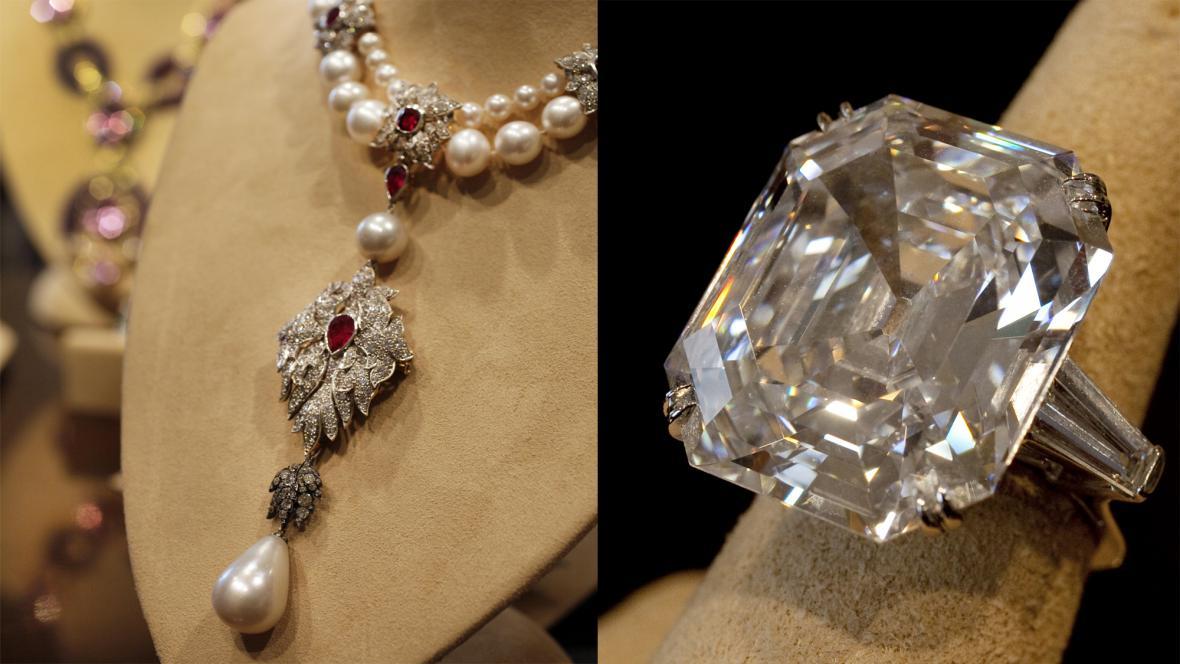 Náhrdelník Peregrina a diamantový prsten Elizabeth Taylorové