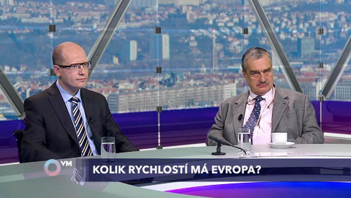 Bohuslav Sobotka (ČSSD) a Karel Schwarzenberg (TOP 09)