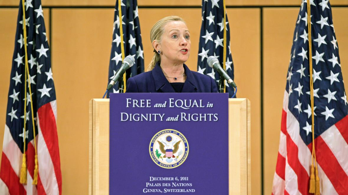 Hillary Clintonová při projevu v Ženevě