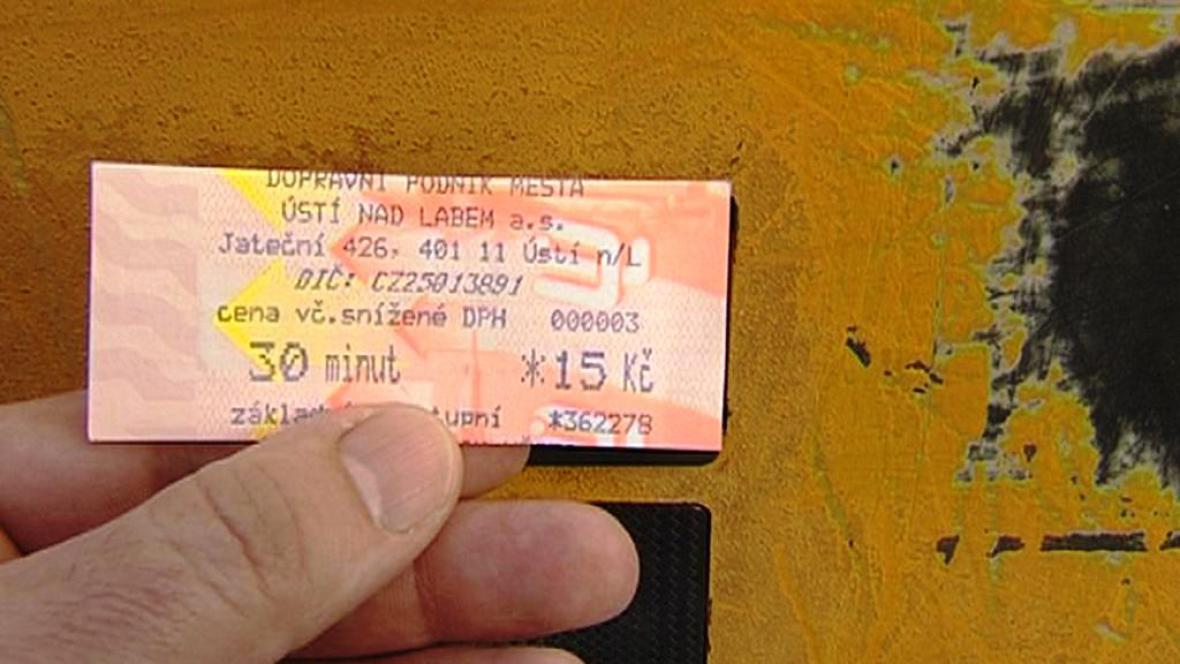 Lístek MHD v Ústí nad Labem