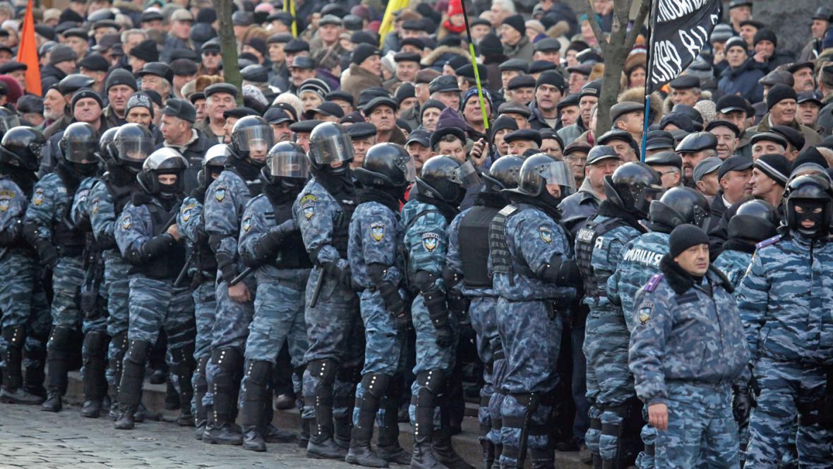 Ukrajinská demonstrace proti sociálním škrtům