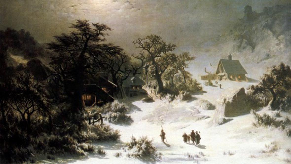 Adolf Kosárek / Zimní noc (detail)