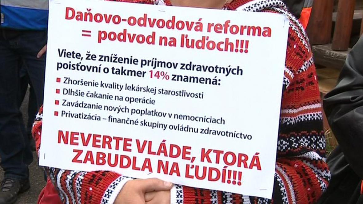 Demonstrace slovenských odborářů