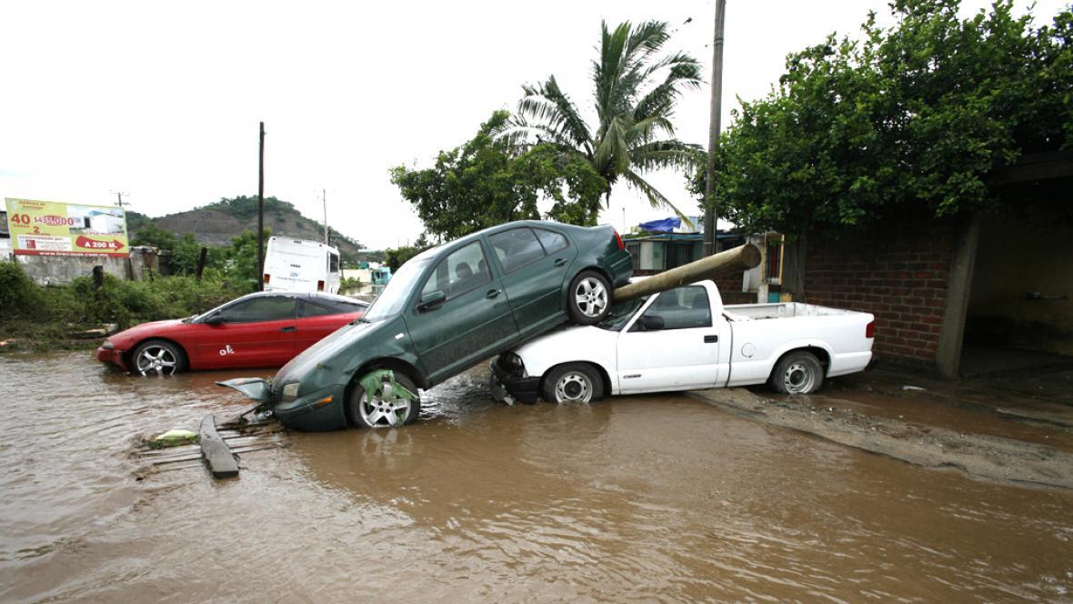 Následky hurikánu v Mexiku
