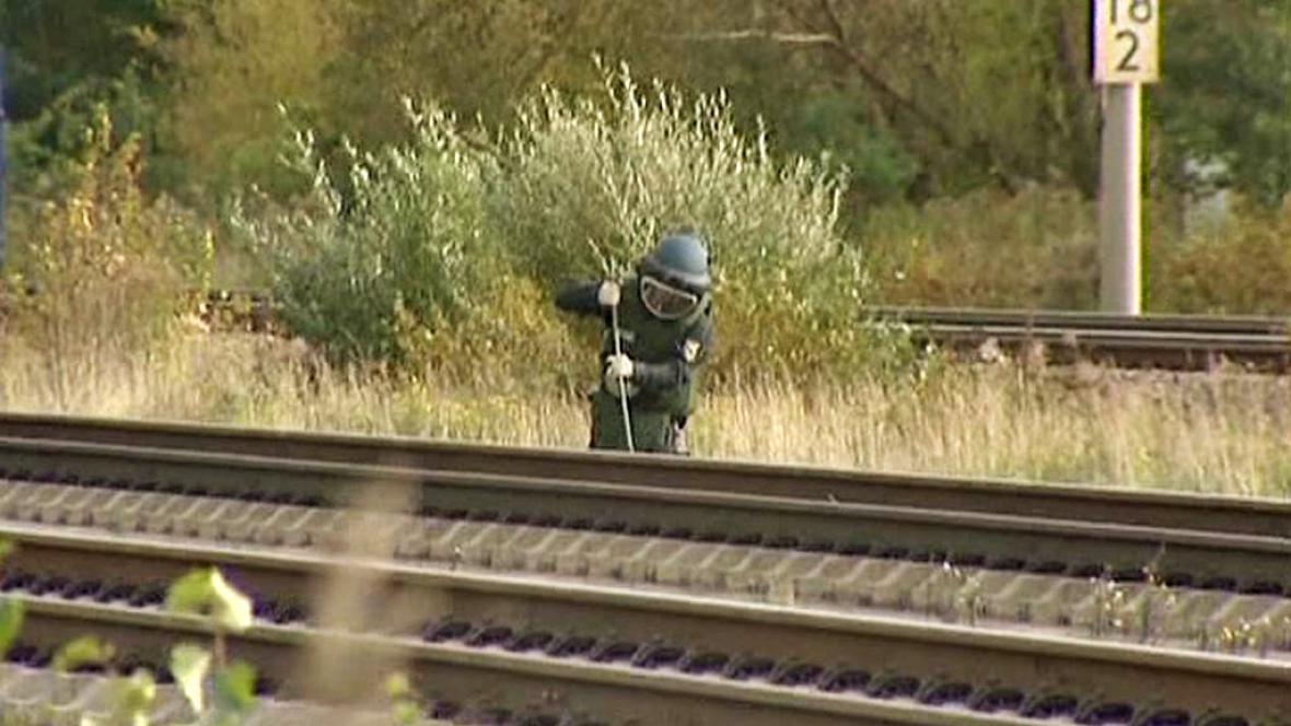 Práce pyrotechniků na německé železnici