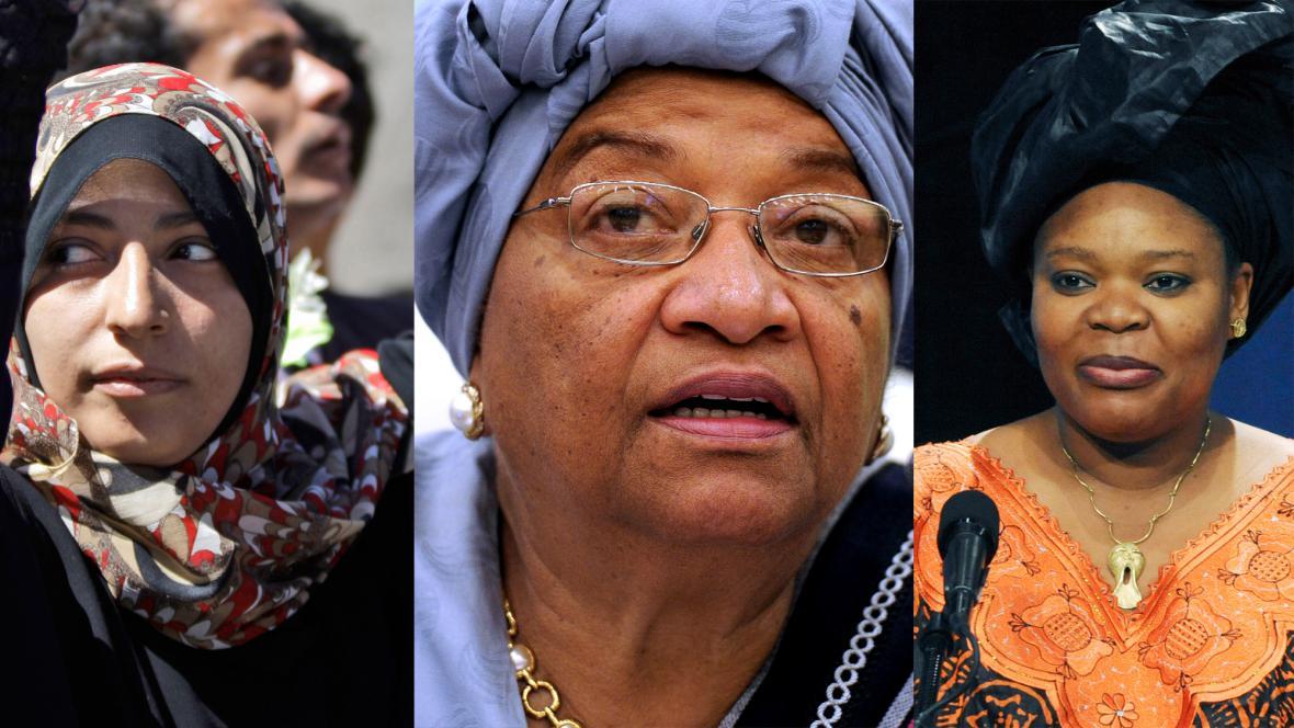 T. Karmánová, E. Johnsonová-Sirleafová a L. Gboweeová