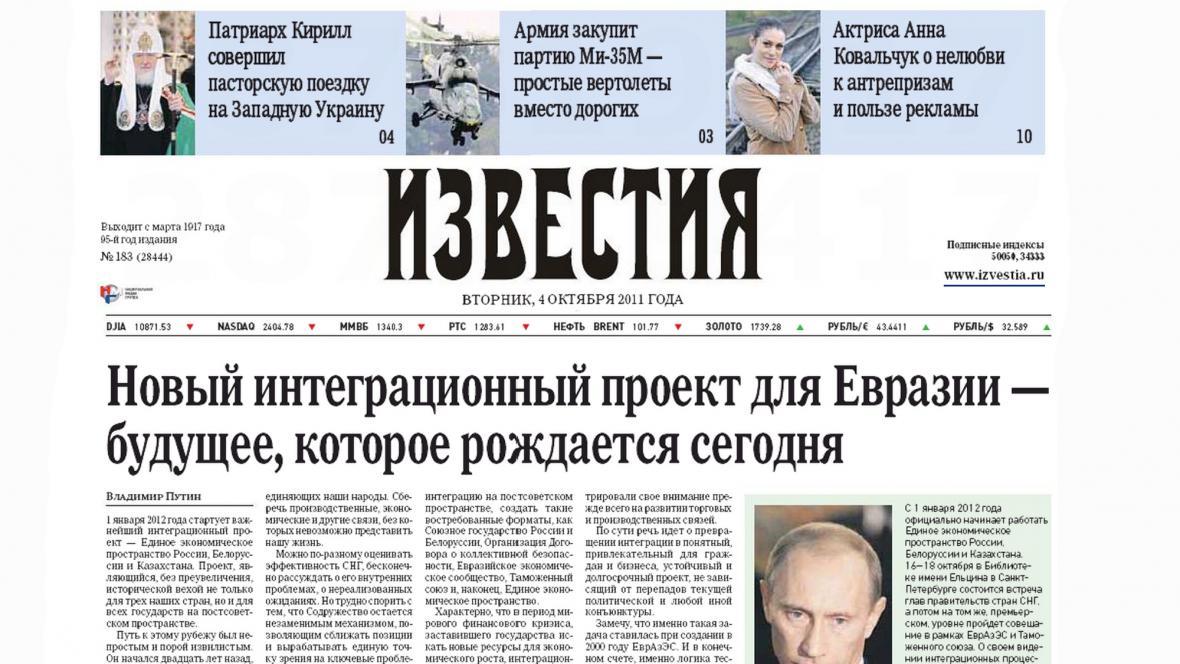 Izvěstija o Putinově návrhu Eurasijské unie